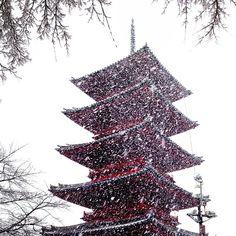 雪景色 池上本門寺五重塔
