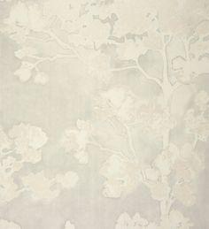 Papel pintado flores de cerezo blanco metalizado fondo gris claro de acuarela - 2011258
