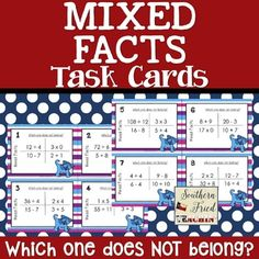 "Practice math facts in a FUN way and challenging way! Do you remember the Sesame Street song, ""Which one of these is not like the others?"" These task cards ask the same question.which one does not belong? Multiplication Facts Practice, Math Facts, Teaching Math, Maths, Math Fact Fluency, Math Coach, Math Division, Math School, Third Grade Math"