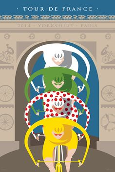 In 2014 the Tour de France began in the UK with its Grande Départ from Yorkshire and ended in Paris. On the final day riders raced the Champs-Élysées and around the magnificent Arc de Triomphe before the winners were crowned. The overall winner in a race for the Yellow Jersey. Polka dots for the King of the Mountains. The Green Jersey for the best sprinter and White for the best young rider of the Tour. Art by Michael Valenti.