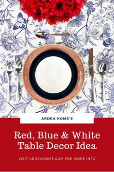 Festive, patriotic or just plain summery. This classic colour combination is a must for warmer weather, and sure to put you in a good mood! Contemporary Tabletop, Blue Table Settings, Table Top Design, Pattern Mixing, Good Mood, Accent Colors, Red And White, Table Decorations, Festive