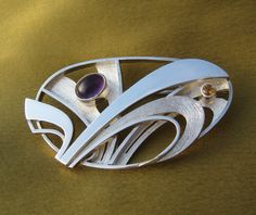 Amethyst and citrine silver brooch by Rimantas on Etsy