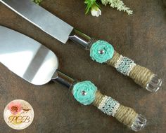 Cake Server Set Aqua Rustic Wedding Knife Vintage Burlap And Lace Serving Country Servers Knives