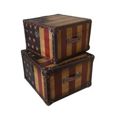@Overstock - Add a touch of vintage Americana to your decor with the Set of Two Stars and Stripes Square Trunks. These pieces combine the classic, faux leather look of Old Glory and the durability of a Wood/MDF build.http://www.overstock.com/Home-Garden/Americana-Stars-and-Stripes-Square-Trunks-Set-of-Two/7262736/product.html?CID=214117 $239.00