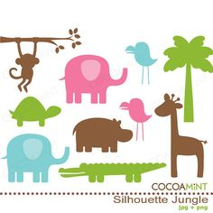 Silhouette Jungle Clip Art by cocoamint on Etsy, $5.00
