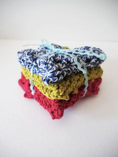 Hand-Crocheted Dishcloth / Potholder Set in Navy, Raspberry, and Kiwi by westervin - new in my shop!
