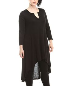 Another great find on #zulily! Black Notch Neck Hi-Low Tunic - Plus #zulilyfinds