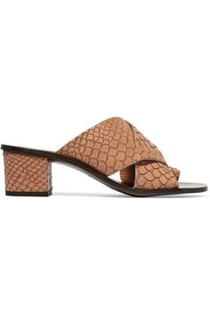 ATP Atelier - Felicia Snake-effect Leather Sandals - Mushroom - IT