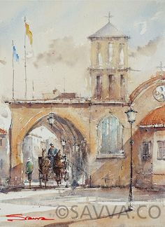 savva watercolour cyprus-saint lazaros church Gouache Painting, Cyprus, Watercolour, Paintings, Artist, Pen And Wash, Watercolor Painting, Paint, Watercolor