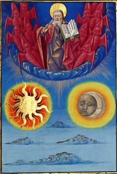 The Creation of the Sun and the Moon [BnF, Français c. Beauvais, Landscape Elements, Story Arc, Medieval Manuscript, Unusual Art, God Pictures, Bnf, Catholic Art, France