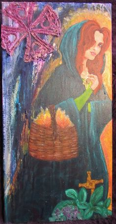 Brigit- The Celtic Triple Goddess/ Acrylic and Mixed Media on Canvas