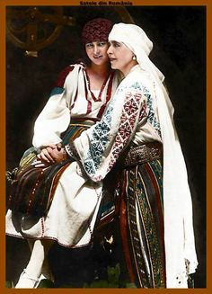 Queen Marie of Romania and her daughter princess Ileana Romanian Royal Family, Romanian Girls, History Of Romania, Queen Mary, Now And Forever, Folk Costume, Traditional Outfits, Ferdinand, Marie