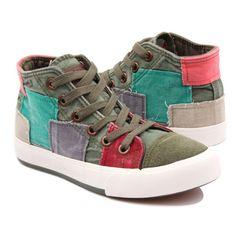 모든 경기 여성 신발 높은 캔버스 신발 여성 패션 캐주얼 신발 컬러 블록 장식