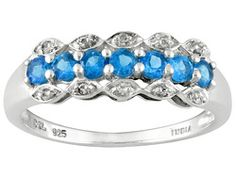 .59ctw Round Madagascar Neon Blue Apatite And Round White Topaz Sterlng Silver Ring