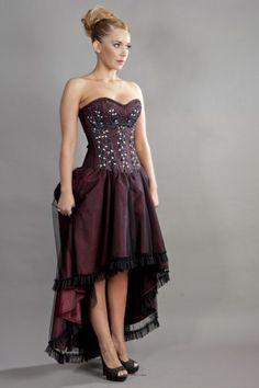 Waltz corset dress in burgundy taffeta with black mesh overlay