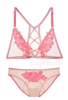 d0b6517b3b Victoria s Secret Dream Angel Embroidered Bralette Bra set pink nude mesh  panty