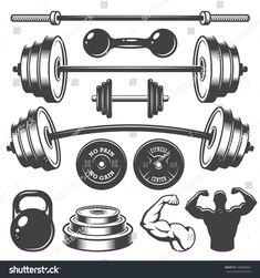 Vector Set of vintage fitness designed elements. Monochrome style photoSet of vintage fitness designed elements. Fitness Design, Gym Design, Logo Design, Crossfit Logo, Gym Logo, Fitness Tattoos, Fitness Logo, Ideas For Logos, Dumbbell Tattoo