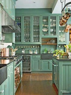 I'm not too fond of the color, but omg, those cabinets!!!