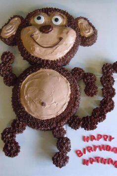 Monkey Cake - 50 Easy Make Animal Cakes for Every Occasion . Dolphin Cakes, Giraffe Cakes, Pull Apart Cake, Pull Apart Cupcakes, Monkey Cupcakes, Cupcake Cakes, 3d Cakes, Mini Cupcakes, Fete Laurent