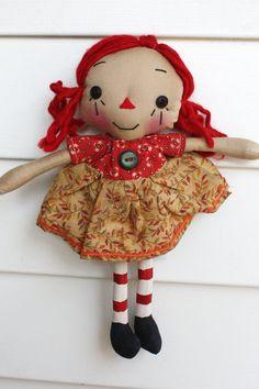 Fall Leaves Tiny Annie  Primitive Raggedy Ann by HeartstringAnnie, $18.00