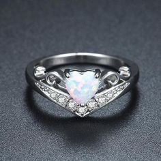 FT-Ring Charming Heart Purple Fire Opal Vintage Ring Jewelry for Women Wedding Engagement Rings