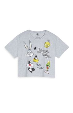 Primark - Top corto gris de Looney Tunes 8e Looney Tunes, Boys Tracksuits, Kids Outfits, Cool Outfits, T Shorts, Typography Logo, T Shirt Diy, Primark, Graphic Tees