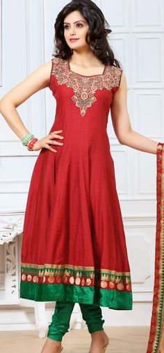 Classic red chanderi cotton anarkali: KSL2475