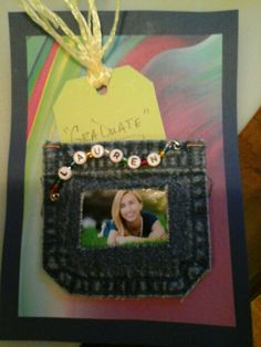 Denim pocket holds money or gift card for graduation along with picture of the graduate.