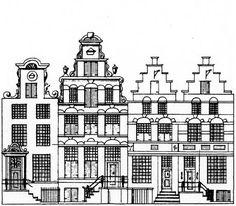 oude grachtenhuizen tekeningen - Google zoeken