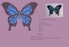 beaded blue swallowtail pattern (pendant/pin) by Angielina Grass, 2012© | Flickr - Photo Sharing!