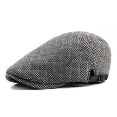 70996b7520a4c Classic Plaid Winter Beret Hat For Men - Dark Blue