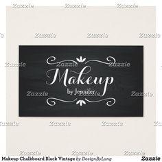 Shop Makeup Chalkboard Black Vintage Business Card created by DesignByLang. Vintage Business Cards, Office Essentials, Chalkboard, Things To Come, Makeup, Prints, How To Make, Black, Make Up