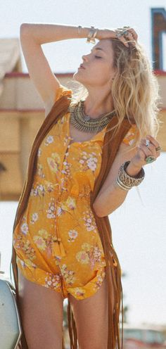 Cute boho chic yellow romper for a sexy modern hippie edge. ↓ ↓ ↓ FOLLOW ↓ ↓ ↓  https://www.pinterest.com/happygolicky/the-best-boho-chic-fashion-bohemian-jewelry-gypsy-/ <<NOW for the BEST Bohemian fashion trends.