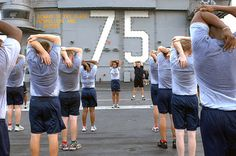 Cool Down Stretches, Mass Communication, Flight Deck, Michael J, Aircraft Carrier, Early Morning, Physics, Stretching, Training
