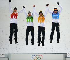 Gold medalists Andreas Wank, Marinus Kraus, Andreas Wellinger and Severin Freund of Germany celebrate during the flower ceremony for the Men's Team Ski Jumping at Sochi Sports Highlights, Ski Jumping, World Of Sports, Winter Olympics, Grumpy Cat, The Man, Skiing, Jumpers, Ski