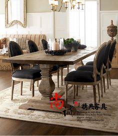 francés y americano de talla de madera directa de la fábrica antecomedores retro color madera antecomedores mesa larga mesa de sala de estar