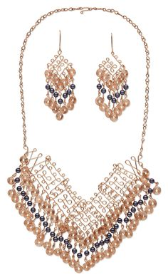 Jewelry Design - Bib-Style Necklace and Earring Set with Swarovski Crystal and Wirework - Fire Mountain Gems and Beads