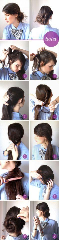 friday night hair - twisted bun - hair tutorials - hair do