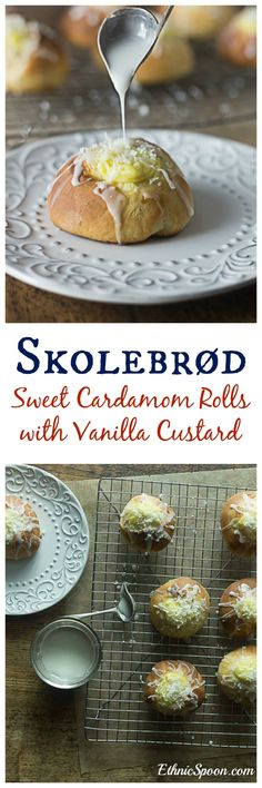 Skolebrød or skolleboller buns are a sweet pastry with cardamom, filled with vanilla custard and topped off with a glaze and chopped coconut.| ethnicspoon.com