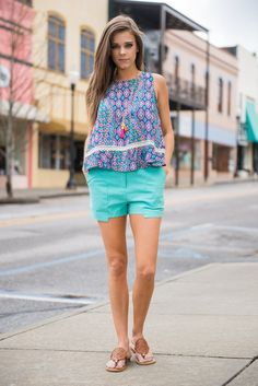 Save The Day Shorts, Aqua || These shorts are here to save the day!! They bright aqua color can bring so much life to any outfit!! Plus, they have unique hemline that we adore! It makes them stand out in a fabulous way!