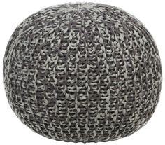 Textured Contemporary Cotton Pouf - Brown/Grey