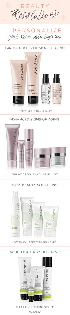 What kind of skin care regimen are you looking for? Whether you have early-to-moderate signs of aging, advanced signs of aging, acne-prone skin, or sensitive skin, Mary Kay has something special for you. Here's to glowing skin in the new year!