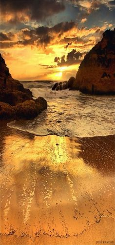 """The Infinity Fountain"" Beach at Sunset, Ferragudo, Portugal 
