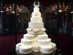 Wedding cake for Prince William and the Duchess of Cambridge, on display this summer at Buckingham Palace. The top tiers are replicas of the originals, but the bottom is the original cake! #royalty