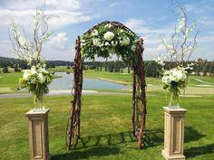 golf course wedding decoration ideas | whtie and green wedding ceremony arch flowers at glencoe club calgary