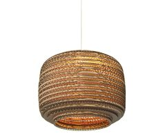 Ausi scraplight ceiling pendant light made from salvaged cardboard boxes. Great lighting for around the home and for lights in restaurants. Drum Pendant, Ceiling Pendant, Pendant Lighting, Ceiling Lights, Round Pendant, Room Lights, Design Shop, Pottery Barn, Rustic Lamps
