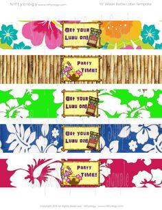 Printable Hawaiian Luau Party Water bottle label by PartyPaloozza