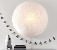 Super cool light-up moon for a kids' room! I would have loved this when I was little! Justina Blakeney Light Up Moon Attic Library, Attic Office, Attic Closet, Attic Playroom, Garage Attic, Attic Doors, Attic Stairs, Attic Window, Attic Organization