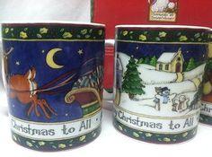 PORTMEIRION STUDIO  by Susan Winget A Christmas Story Set of 4 Coffee Mugs