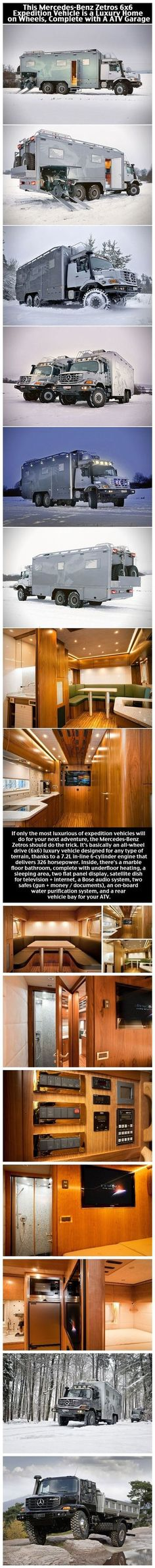 Mercedes Benz Zetros Is A Luxury Home On Wheels With ATV Garage home travel camping mercedes luxury architecture home ideas mercedes benz wealth architecture ideas travelling road trips adventure travel home on wheels Garage Pictures, Rv Homes, Luxury Rv, Bug Out Vehicle, Off Road Camper, Camper Caravan, Road Trip Adventure, Expedition Vehicle, Camping Car